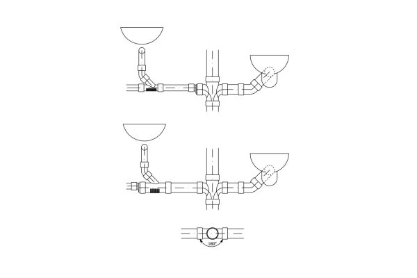 Die Grafi zeigt den Anschluss von fäkalienfreien und fäkalienhaltigen Anschlussleitungen.