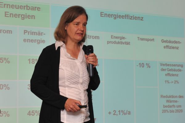 Prof. Dr. Miranda A. Schreurs bei ihrem Grußwort.