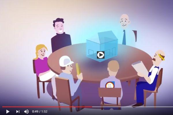 Figuren sitzen um einen runden Tisch und betrachten ein Modell eines Hauses.
