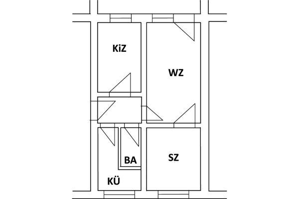 Grundriss einer Wohnung im Mehrfamilienhaus.