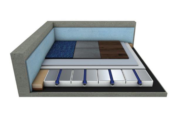 Systemschnitt eines Trockenbau-Systems von mfh systems mit Wärmeleitschichten aus dem Hause Compact Floor.