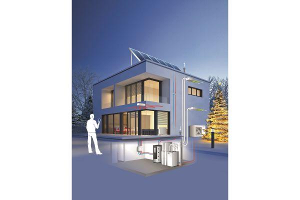 Grafische Darstellung eines Hauses mit Wohnungslüftungsanlage.