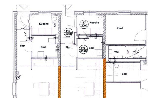 Auszug aus dem Grundriss einer Etage eines Bauvorhabens.