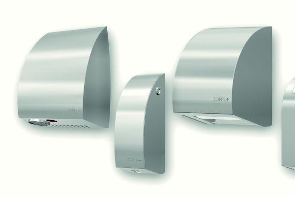 Händetrockner, Seifen- und Desinfektionsspender, Toilettenpapierhalter, Abfallbehälter und Wickeltisch der Designserie