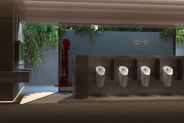 Sanitärraum mit Geberit Urinalsystemen