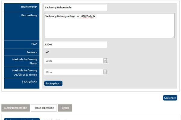 Screenshot des Projektfomulars auf www.project–team-finder.de.