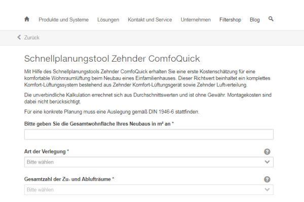 Screenshot der Online-Kalkulationshilfe