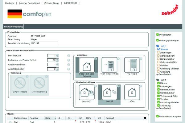 Screenshot des Online-Planungstools