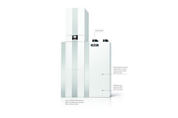 """Das Lüftungsgerät """"CWL-T-300 Excellent"""" ergibt in Kombination mit der Split-Luft/Wasser-Wärmepumpe eine Lösung für Heizung, Lüftung mit Wärmerückgewinnung, Warmwasserbereitung und Kühlung"""