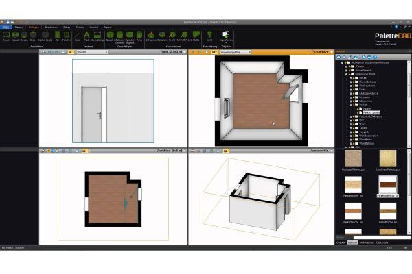 Das Bild zeigt einen Screenshot der Badplanungssoftware von Palette CAD. Auf der Seite sind die Werkzeuge sowie vier Darstellungsmöglichkeiten einer Badplanung aufgeführt.