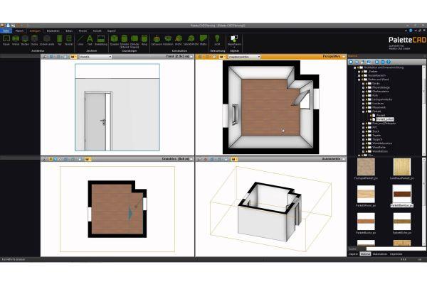 Das Bild zeigt einen Screenshot der 3D-Badplanungssoftware von Palette CAD. Auf der Seite sind die Werkzeuge sowie vier Darstellungsmöglichkeiten einer Badplanung aufgeführt.