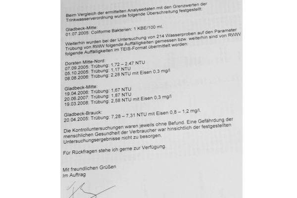 Wasseranalyse Gesundheitsamt Dorsten aus dem Jahr 2005.