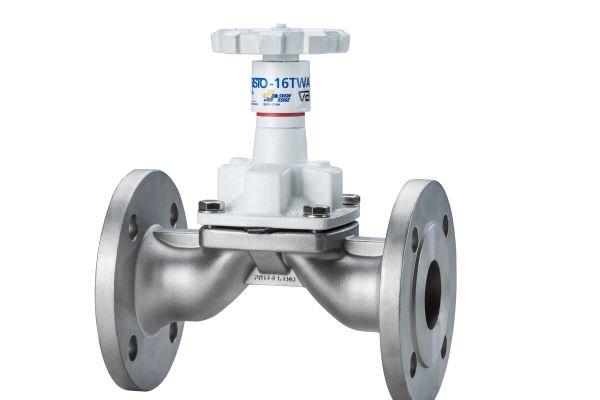 """Das Bild zeigt ein """"SISTO-16TWA""""-Edelstahl-Membranventil für den Trinkwassereinsatz."""