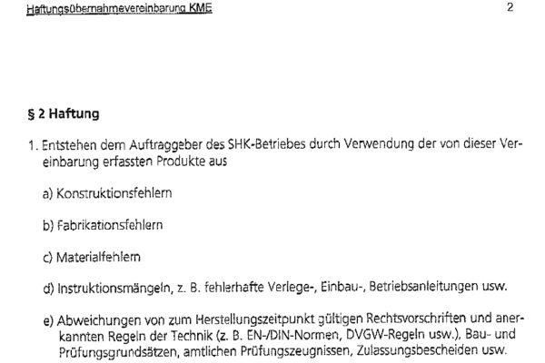 """Nach dem Ausschlussverfahren – das Wasser ist es nicht, der Rohrwerkstoff ist es nicht, also muss es die Verarbeitung sein – hält bis heute der Sanitärinstallateur den """"Schwarzen Peter"""" in der Hand und muss gewährleisten. Die Haftungsübernahmevereinbarung hat sich im Fall Holsterhausen bisher als Makulatur  erwiesen. Sollte sich jedoch die zu geringe Fließgeschwindigkeit im RWW-Netz bewahrheiten, könnte Punkt e) in Kraft treten: Verstoß gegen das DVGW-Regelwerk."""