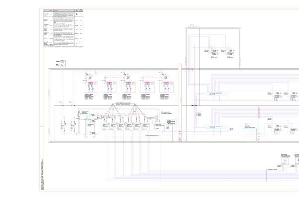 Das Schalt- und Rohrleitungsschema des Konzepts zur Komfortklimatisierung und Heizung bei der Firma Wiedmann.