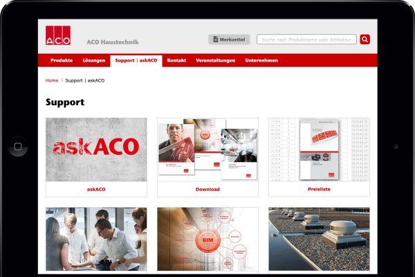 Neuer Online-Ratgeber von ACO Haustechnik