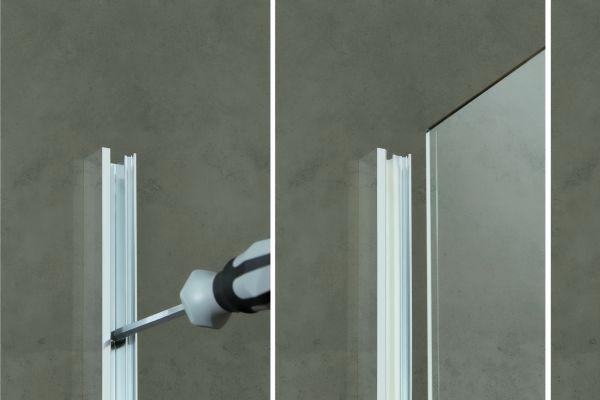 """Die Montage der """"Walk In Pro"""" ist denkbar einfach: Zunächst wird das Wandprofil auf Putz, im Putz oder auf der Fliese montiert. Anschließend wird die Echtglas-Duschabtrennung eingeschoben und justiert. Zuletzt wird alles mit einem speziellen Keder-System abgedichtet."""