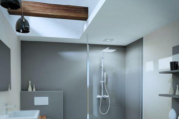 """Mit der teilgerahmten Duschwand """"MK800"""" bietet Duschwelten eine schicke und flexible Walk-in-Variante."""