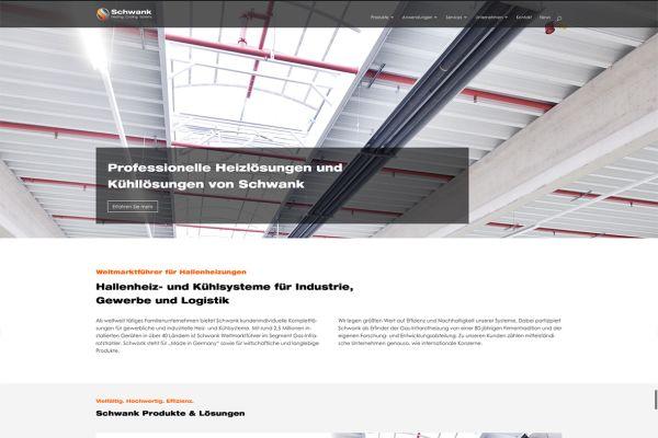 Screenshot der Schwank-Homepage.