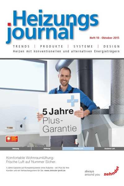 HeizungsJournal – Heft 10, Oktober 2015 HeizungsJournal – Heft 10/2015