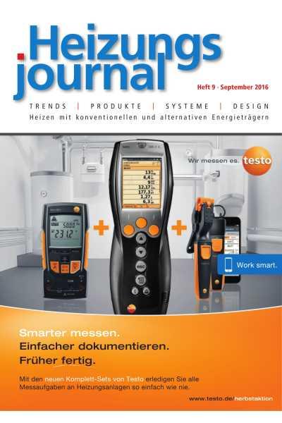HeizungsJournal - Heft 9, September 2016 HeizungsJournal - Heft 9/2016