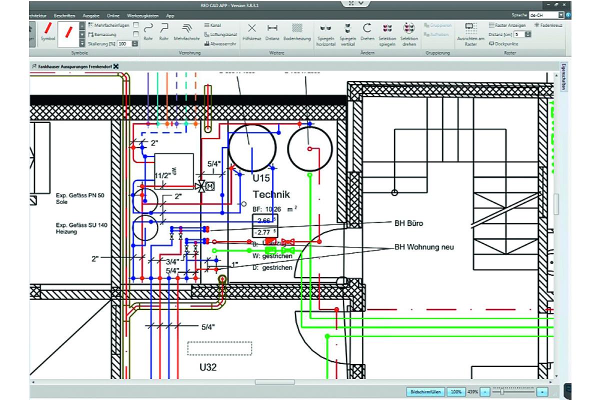 Das Bild Zeigt Die RED CAD Software ...