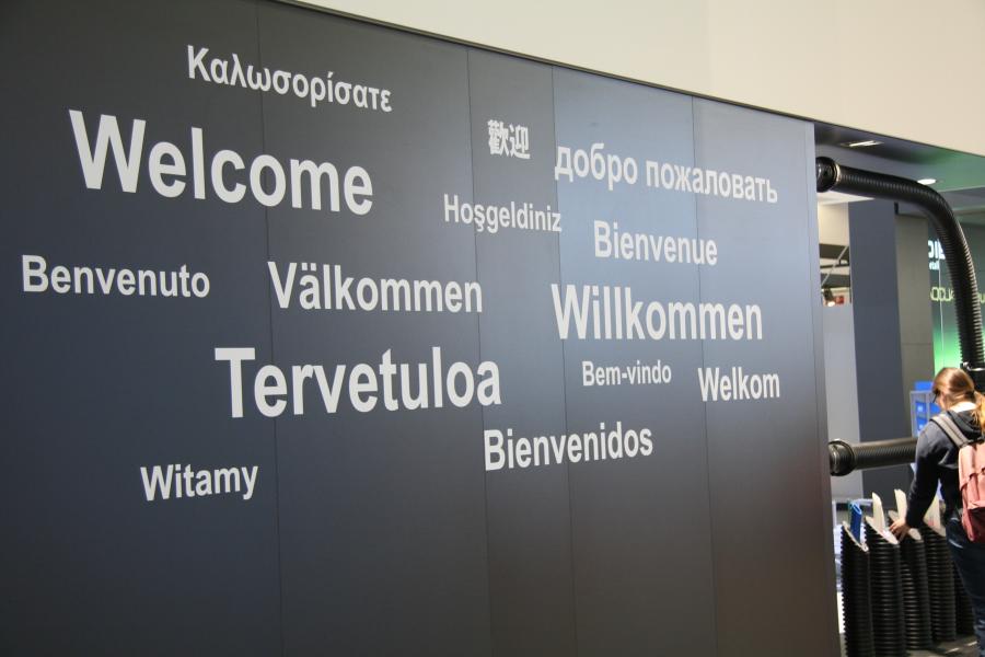 Schild: Willkommen auf der ISH