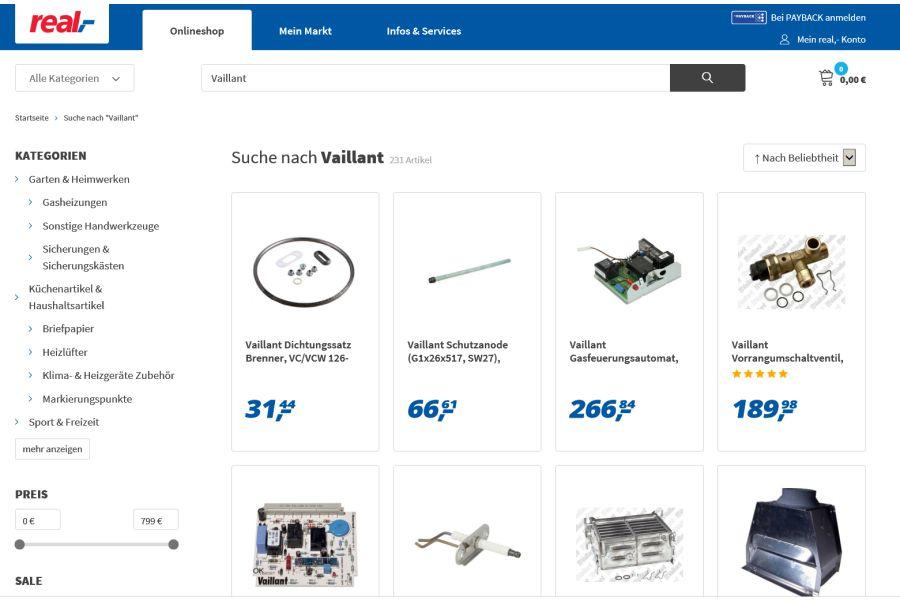 Das Bild zeigt einen Screenshot der Real-Homepage mit Vaillant-Angeboten.