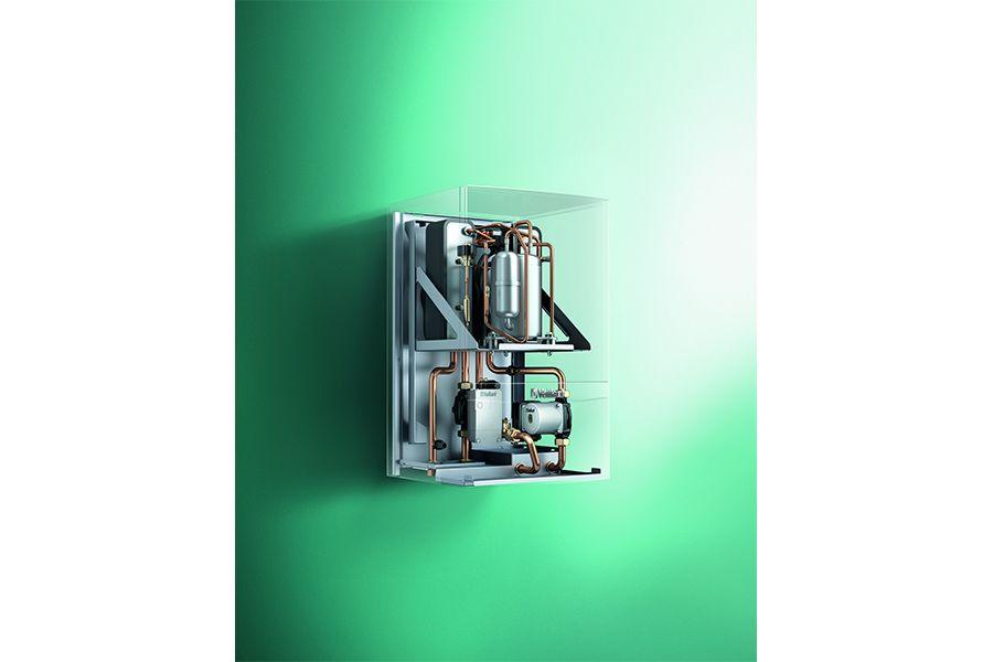 Wandhängende Erdwärmepumpe zur Nutzung mit Sonde oder Erdkollektor