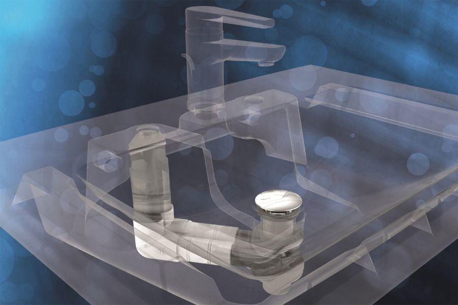 """Das Bild zeigt die """"INEO FLUX""""- Waschtisch-Garnitur von Sanit mit verstecktem Überlauf."""