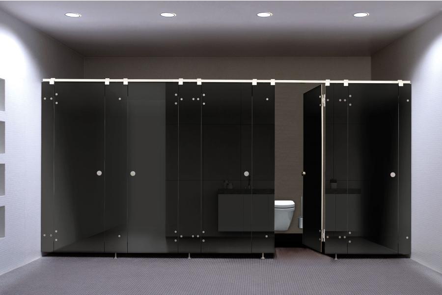 """Das WC-Trennwandsystem """"NOXX smart""""."""