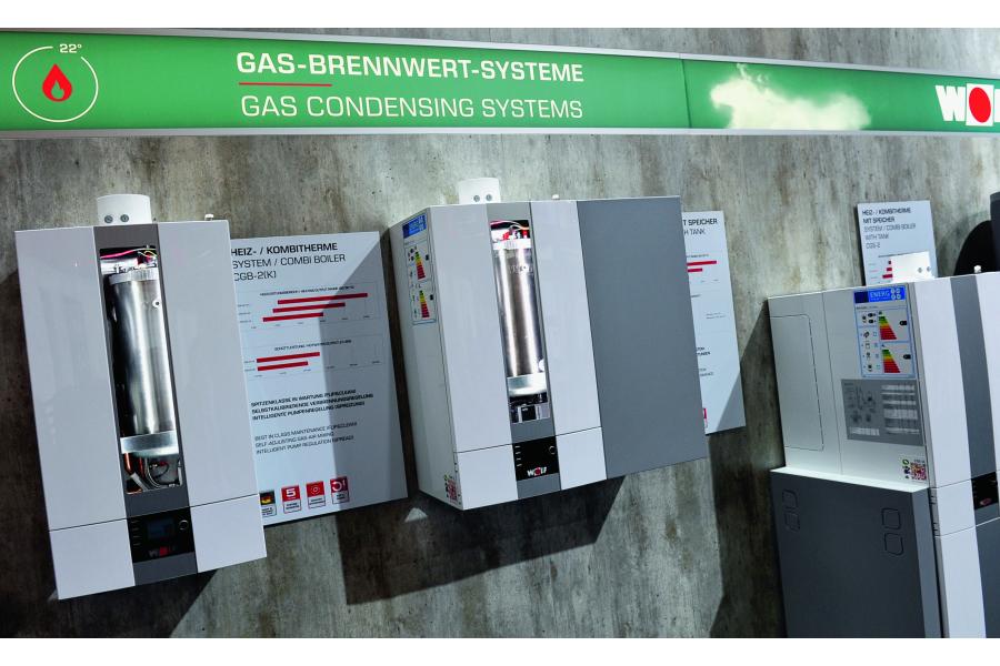Die Themenwand Gas-Brennwert-Systeme auf der ISH 2017.