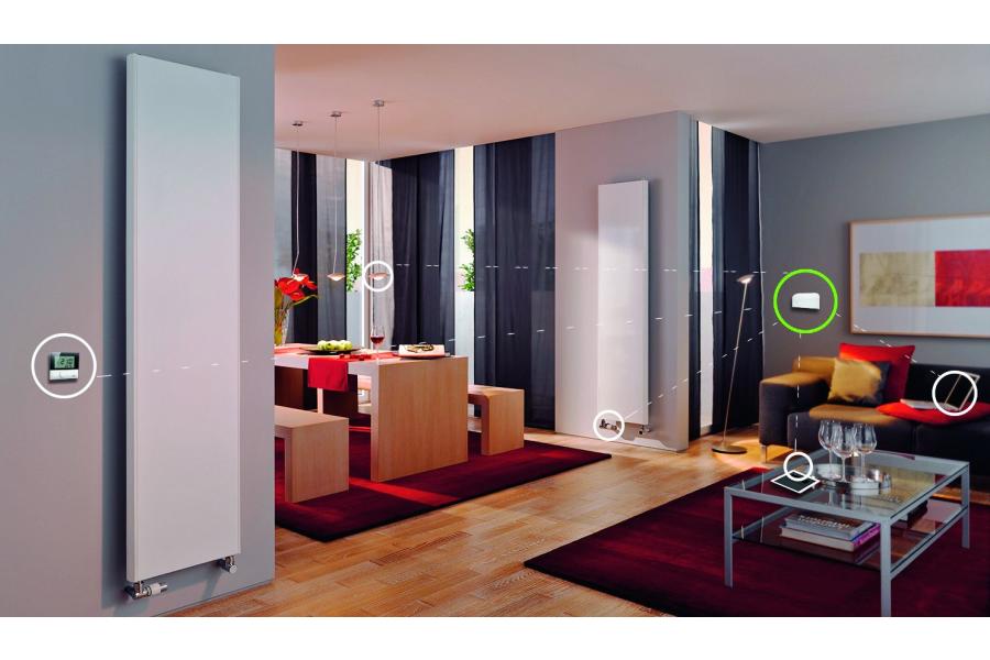 """Ein Wohnzimmer, ausgestattet mit Komponenten des Kermi-""""Smart Home""""."""