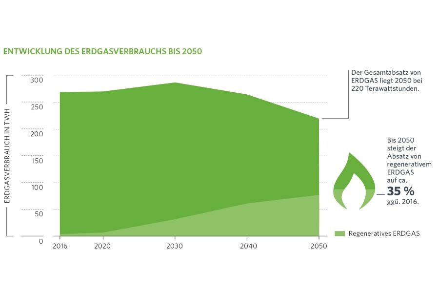 Die Grafik zeigt die Entwicklung des Erdgasverbrauchs bin 2050.