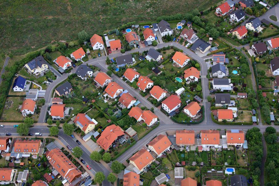 Häuser aus der Vogelperspektive.