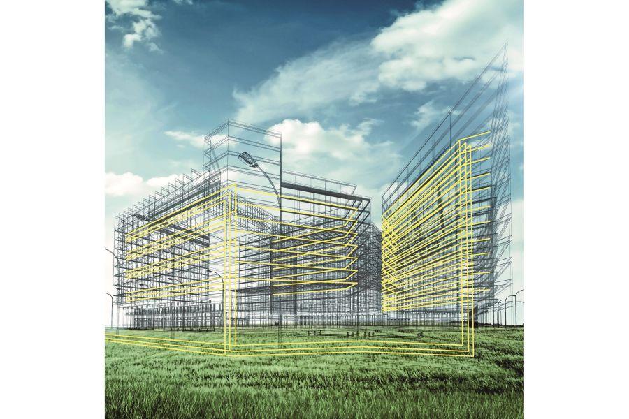3D-BIM-Modell eines Gebäudes.