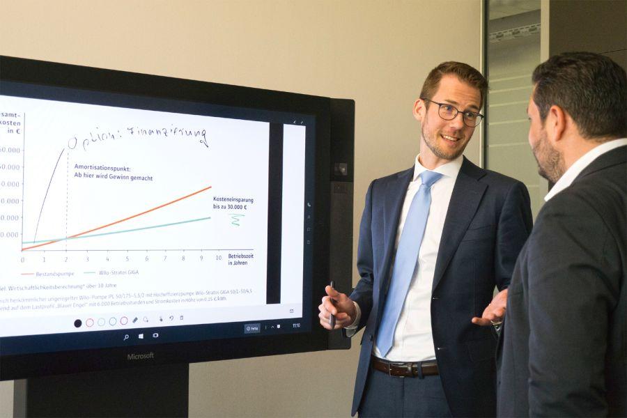 Das Bild zeigt Daniel Podgorny, Managing Director Wilo-Financial Services, im Kundengespräch.