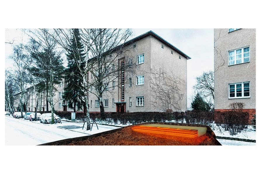 """Überschüssige und niedrige Temperaturerträge der Solaranlage werden in den sogenannten """"eTank"""" geleitet, den man direkt neben den Gebäuden errichtet hat."""