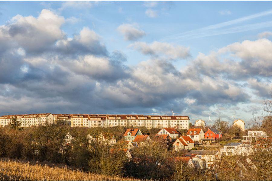 Das Panorama der Wohnsiedlung Marshall Heights in Kitzingen.