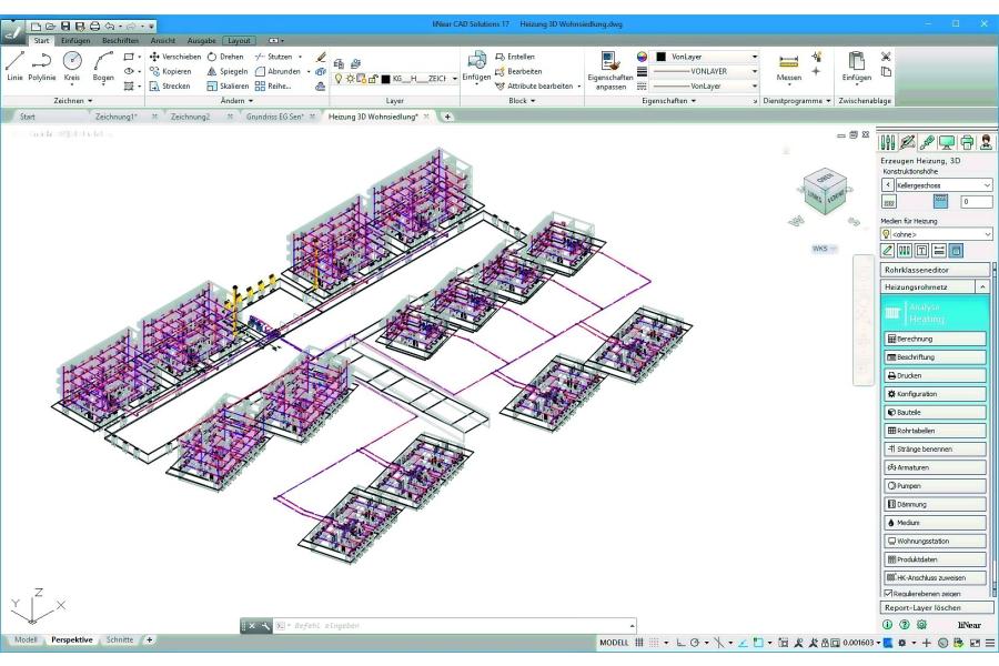CAD-Darstellung einer Wohnsiedlung.
