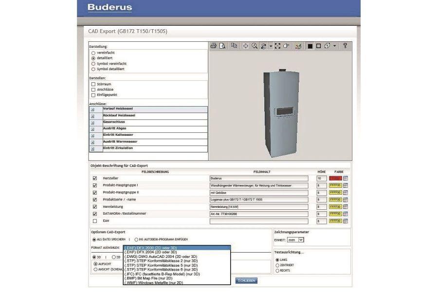 Darstellung der CAD-Daten eines Produkts über einen 3D-Viewer.