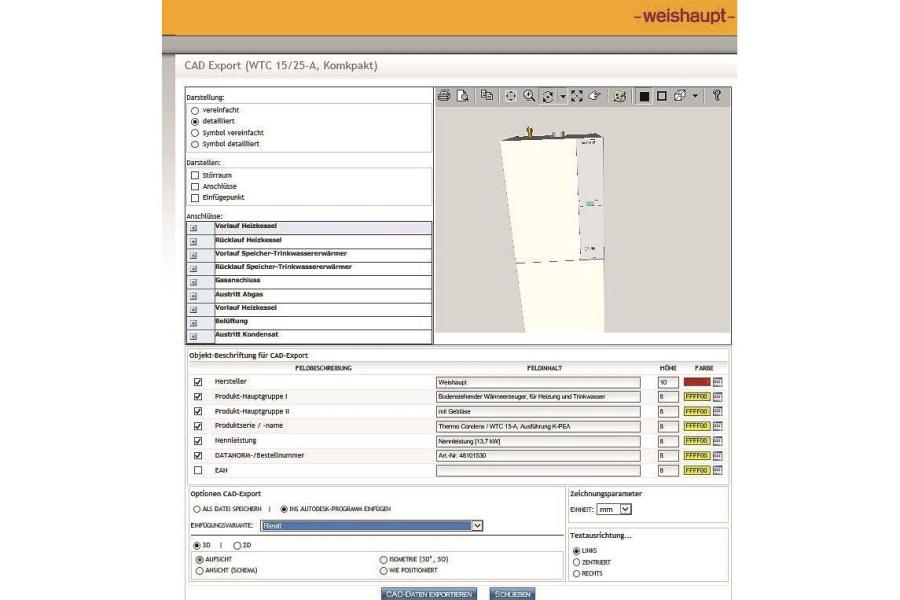 Screenshot eines CAD-Exports in ein Autodesk-Programm.