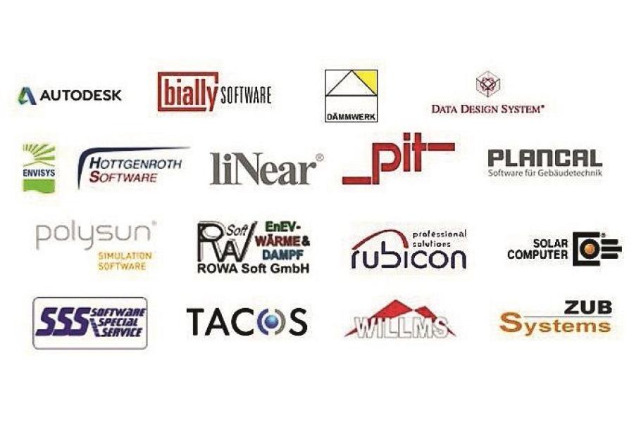 Logos der Softwarehersteller, die VDI 3805 unterstützen.
