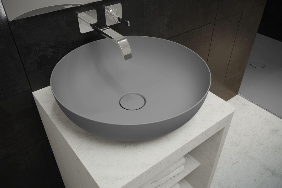 """Das Bild zeigt eine graue """"Miena""""-Waschtisch-Schale von Kaldewei."""