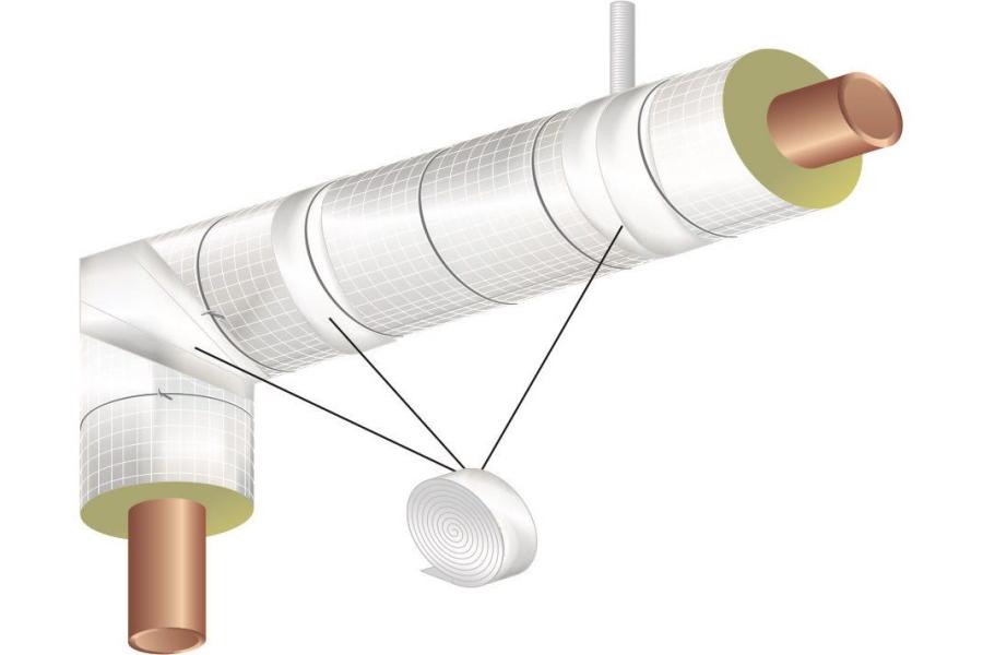 """Die Grafik zeigt, an welchen Stellen die Rohrschalen mit dem """"Teclit Alutape"""" verklebt werden müssen."""