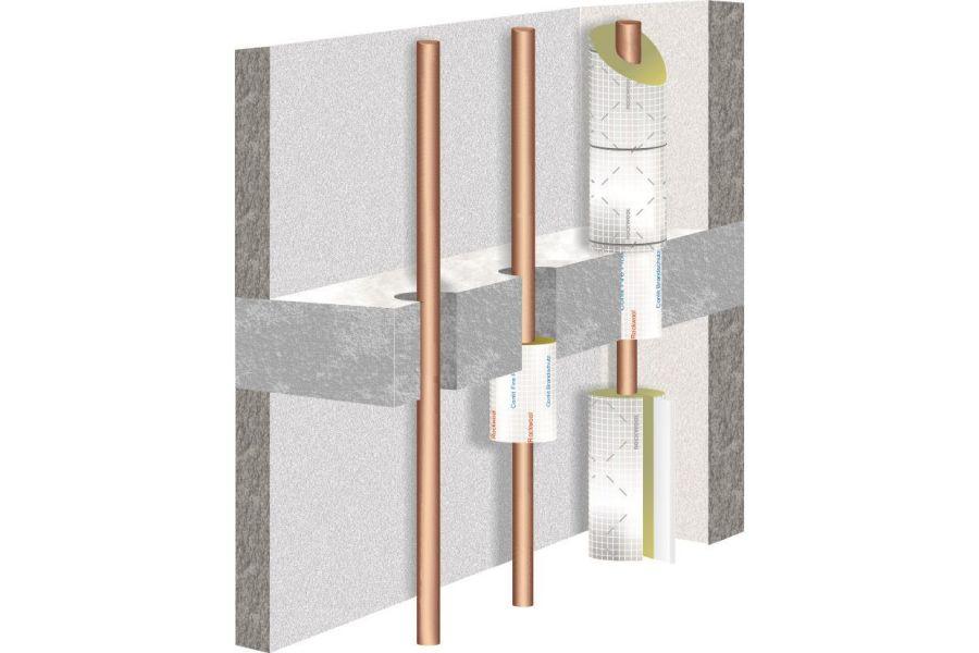 Die Grafik zeigt, wie die Rohrschalen in die Kernbohrung eingebaut werden.