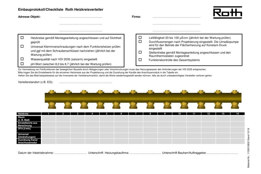Beispiel für ein Einbauprotokoll für einen Heizkreisverteiler.