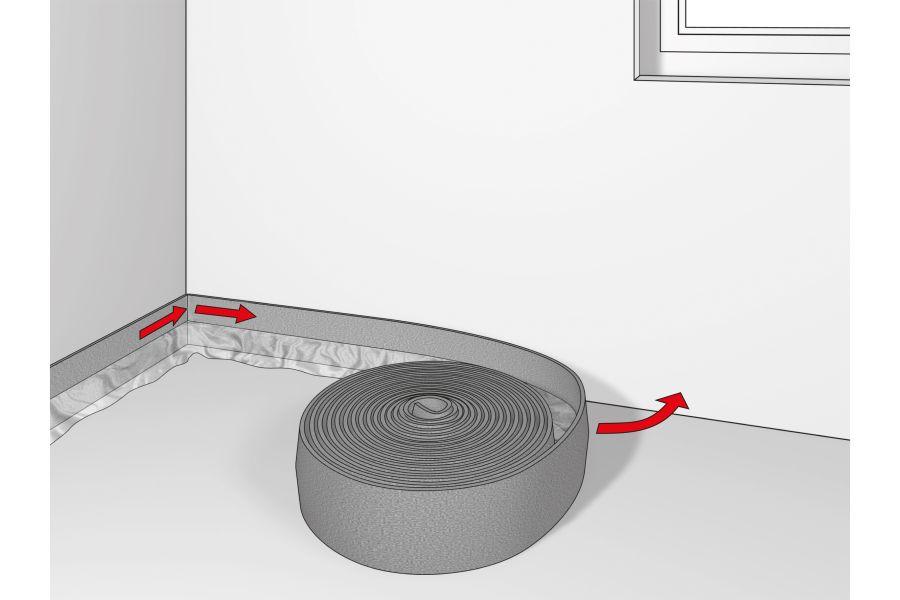 Die Grafik erläutert die Auslegung des Randdämmstreifens für die Fußbodenheizung.