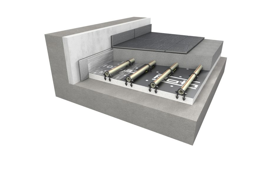 Die Grafik zeigt den Aufbau eines Tacker-Systems für die Flächen-Heizung und -Kühlung.
