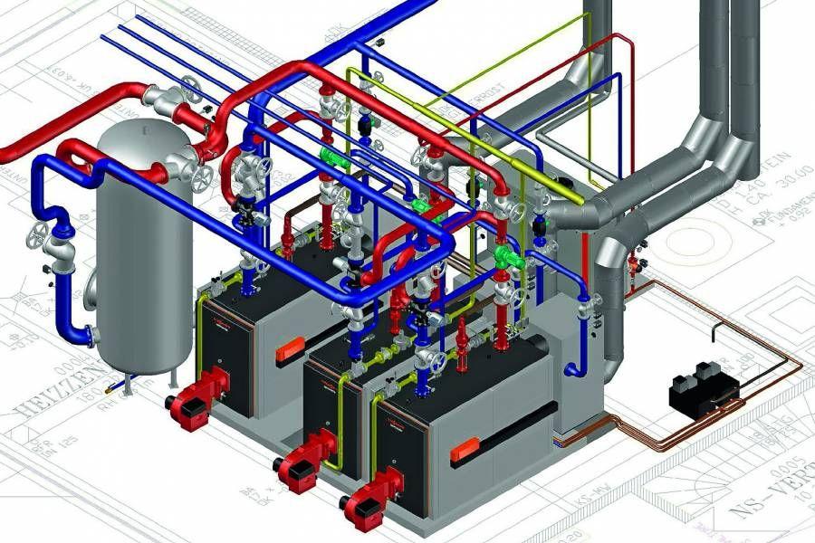 Grafik einer 3D Heizzentrale.